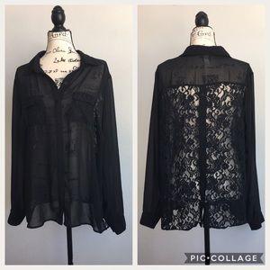 TORRID Black Button-Down Shirt Sheer Lace Details